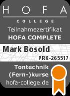 Don Bosi Audio Engineer Zertifkat